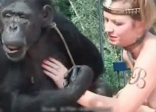 Zoophile trains her sexy monkey